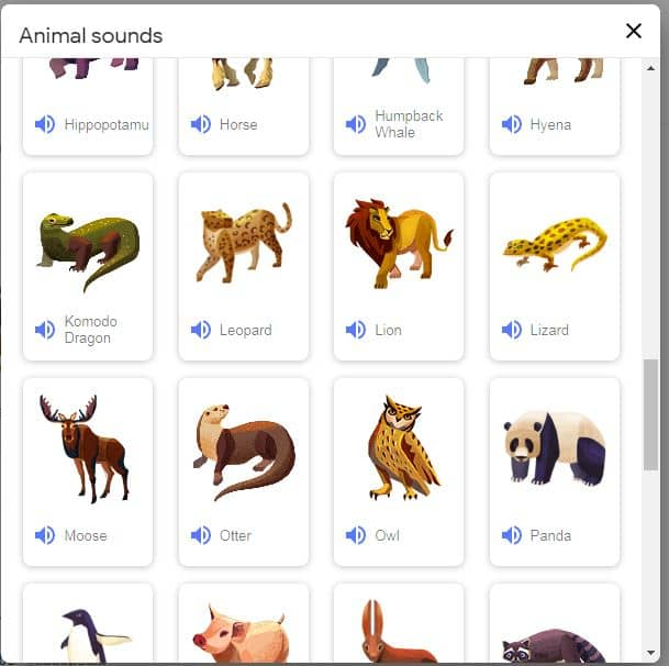 list-of-all-animal-on-google-for-play-voices