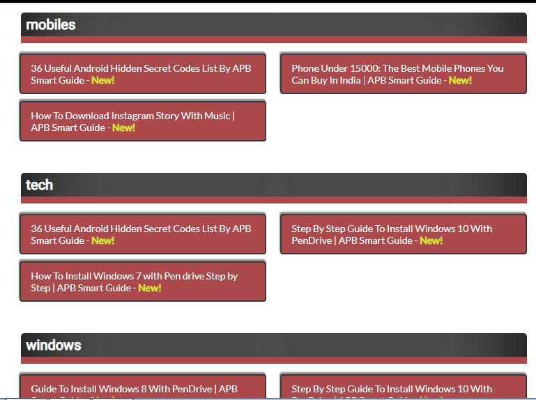 4-grid-view-labeled-sitemap-page-screenshot-maroon-blackand-white-color