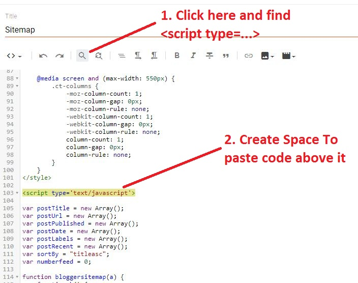 finding-java-script-tag-with-crtl-f-in-blogger-sitemap-code-editor