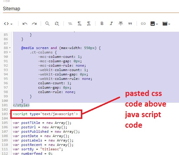 pasted-css-codes-just-above-the-java-script-tag-in-blogger-sitemap-page-editor