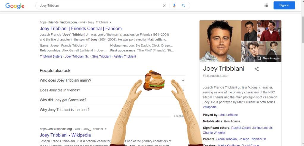 2-joey-tribbiani-friends-show-google-search-trick-joey-doesnt-share-food-with-holding-pizza-with-hands